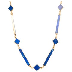 1950s Lapis By the Yard Yellow Gold Link Necklace