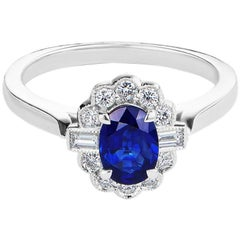 0.96 Carat Sapphire and Diamond White Gold Engagement Ring