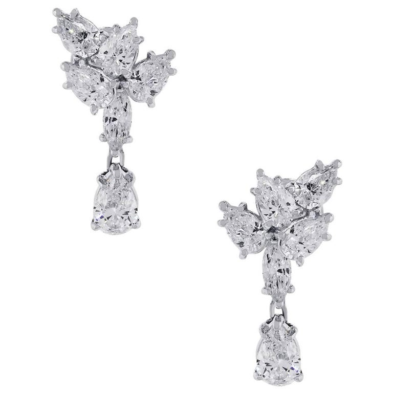 Pear Diamond Dangle Earrings
