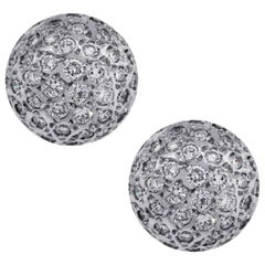 Round Brilliant Diamond Pave Dome Stud Earrings