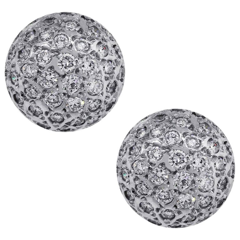2 Carat Diamond Pave Stud Earrings