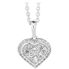 Princess Cut and Round Brilliant Cut Diamond Heart Necklace