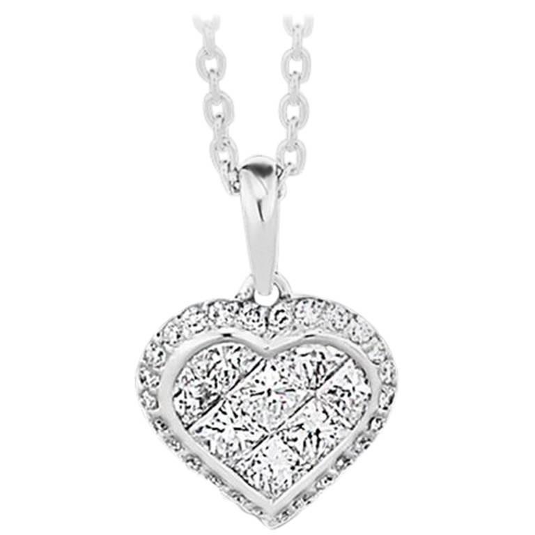 Princess Cut and Round Brilliant Cut Diamond Heart Necklace