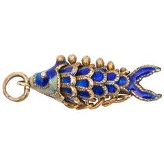 1930s Koi Fish 14 Karat Yellow Gold Enamel Charm Pendant