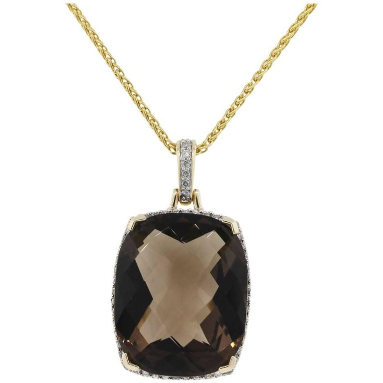 Smoky Topaz and Diamond Pendant Necklace