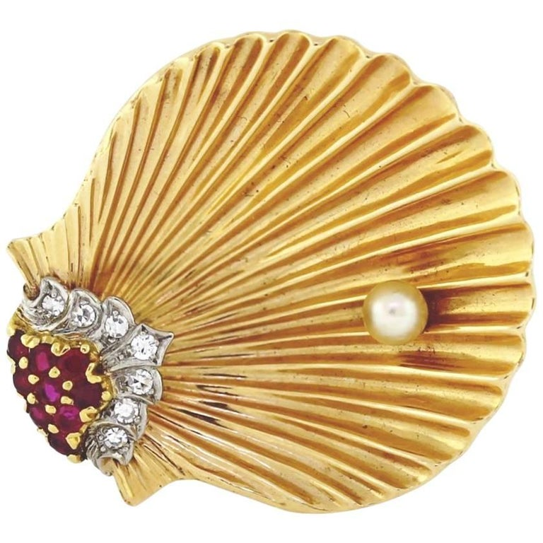 Cartier Diamond and Ruby, Gold Shell Brooch