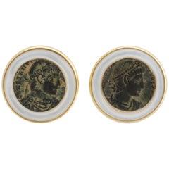 Ella Gafter Antique Coin and Jadeite Yellow Gold Cufflinks