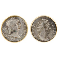 Ella Gafter Ancient Silver Coin Yellow Gold Cufflinks