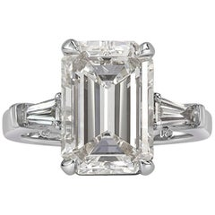 Mark Broumand 5.89 Carat Emerald Cut Diamond Engagement Ring in Platinum