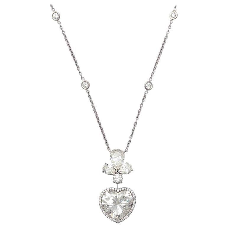 GIA Certified 6.46 Carats I-VS1 Heart Shape Diamond Pendant