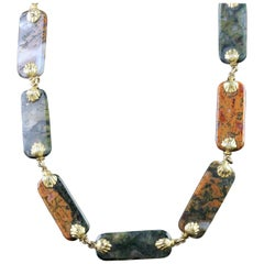 Antique Georgian Gold Scottish Agate Necklace, circa 1800