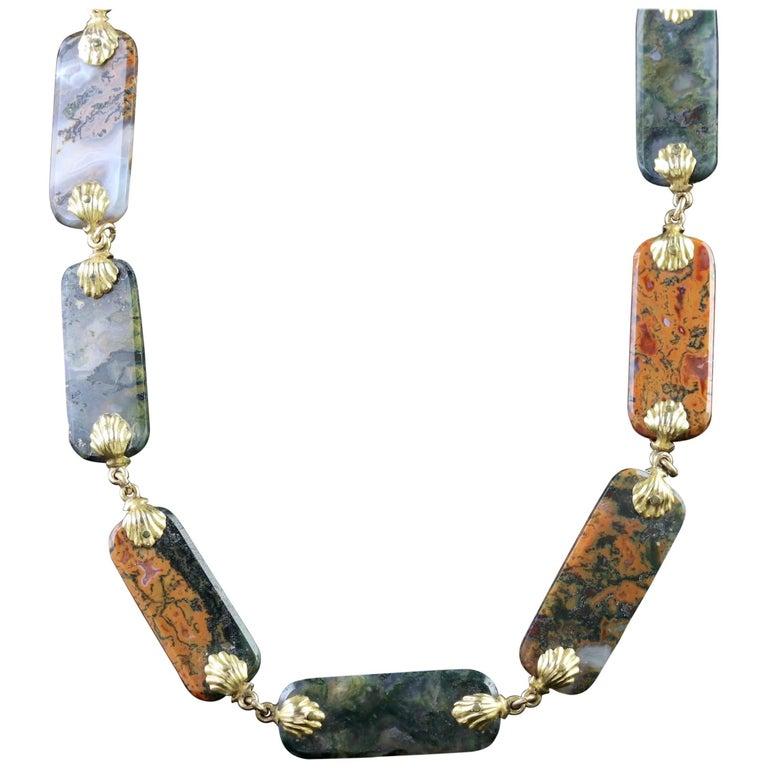 Antique Georgian Gold Scottish Agate Necklace, circa 1800