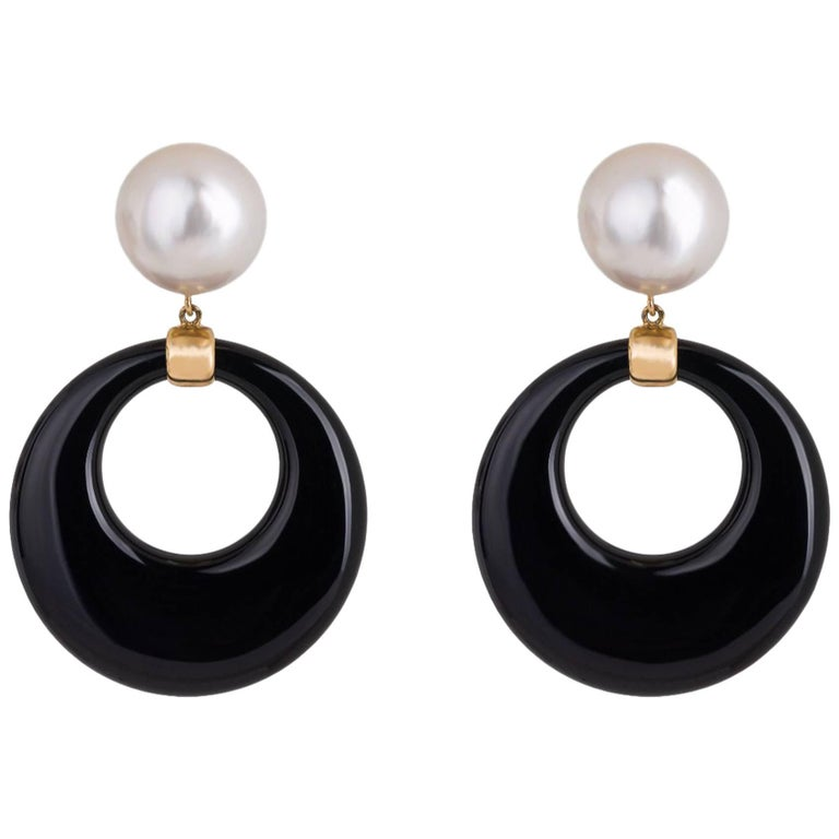 Onyx and Mabe Pearl Gold Dangle Earrings