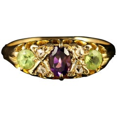 Antique Suffragette 18 Carat Gold Ring Peridot Amethyst Diamond, Dated 1923