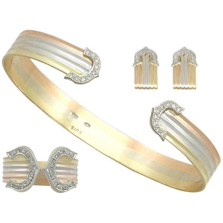 1970s Diamond and White Yellow and Rose Gold Jewelry Suite