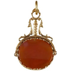 Antique Watch Fob Agate Pendant in 15 Carat Gold