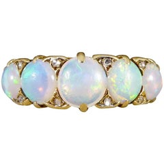 Antique Victorian Diamond and Opal 18 Carat Gold Large Five-Stone Ring