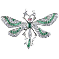 Antique Victorian Silver Green Paste Dragonfly Brooch, circa 1900