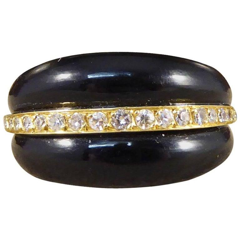 Vintage Black Onyx and Diamond 18 Carat Gold Ring