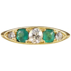 Antique Emerald and Diamond Five Stone Ring in 18 Carat Yellow Gold