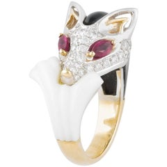 Ella Gafter Diamond Black Onyx Ruby White Yellow Gold Fox Ring