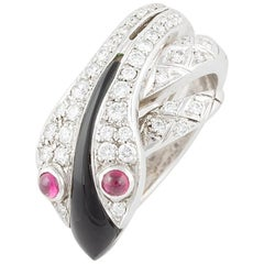 Ella Gafter Diamond Black Onyx Ruby White Gold Snake Ring