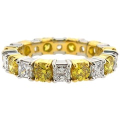 3.04 Carat Yellow and White Diamond Eternity Band
