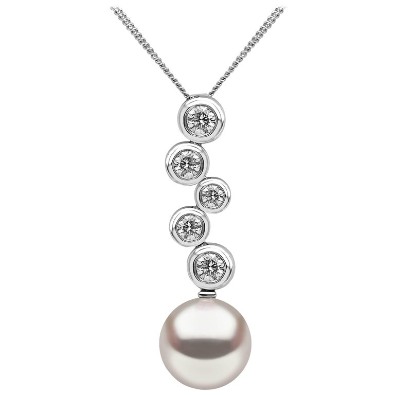 Yoko London Pearl and Diamond Pendant set in 18 Karat White Gold