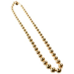 1960s Tiffany & Co. 18 Karat Yellow Gold Bead Necklace