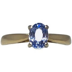 Igi Certified 1.09 Carat Ceylon Light Blue Sapphire 18 Karat Gold Solitaire Ring