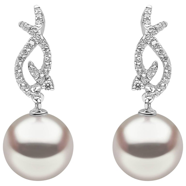 Yoko London South Sea Pearl and Diamond Drop Earrings in 18K White Gold