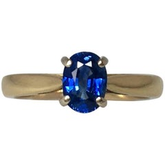 1.15ct Vivid Cornflower Blue Ceylon Sapphire Solitaire Engagement Ring 18k Gold