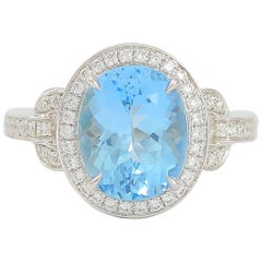Frederic Sage 3.60 Carat Oval Aquamarine Diamond One of Kind Ring