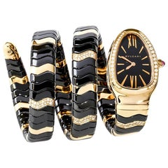 Bulgari Serpenti Watch 18 Karat Pink Gold Diamonds Black Ceramic Quartz 102128