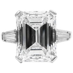 GIA Certified 7.20 Carat F VVS2 Emerald Cut Diamond Platinum J. Birnbach Ring