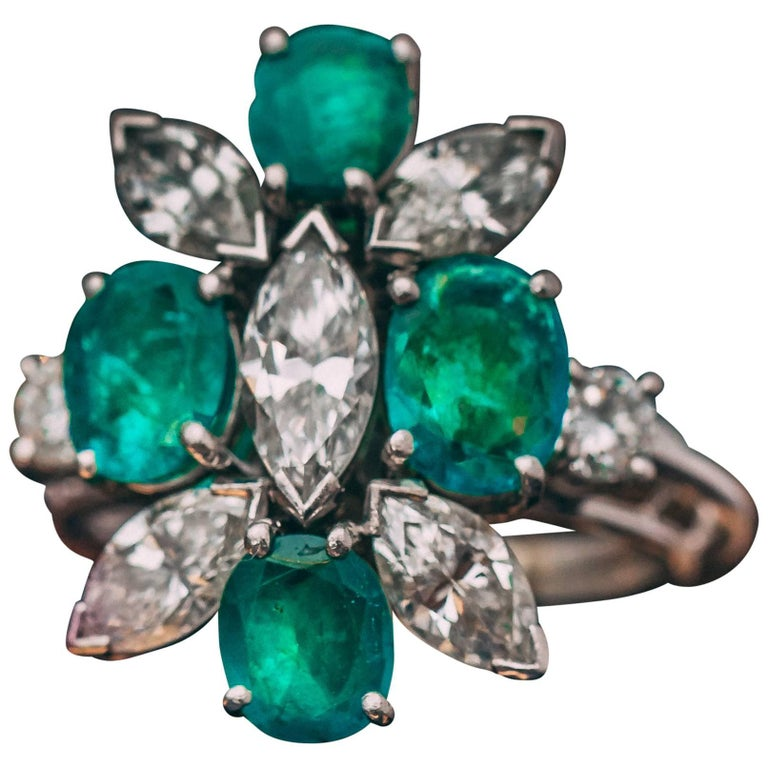 1960s 4 Carat Emerald and 3.2 Carat Diamond Platinum Cocktail Ring