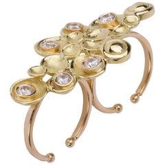 Joan Hornig Gold 'Pop Rocks' Double Shank Cocktail Ring