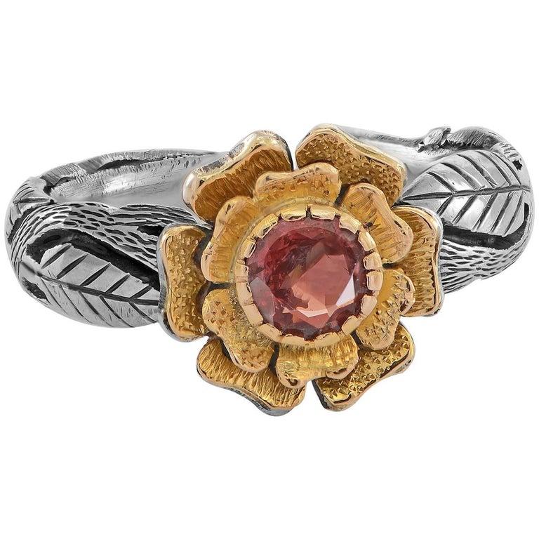 Emma Chapman Pink Sapphire Yellow Gold Silver Flower  Ring