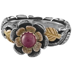 Emma Chapman Ruby Yellow Gold Silver Ring