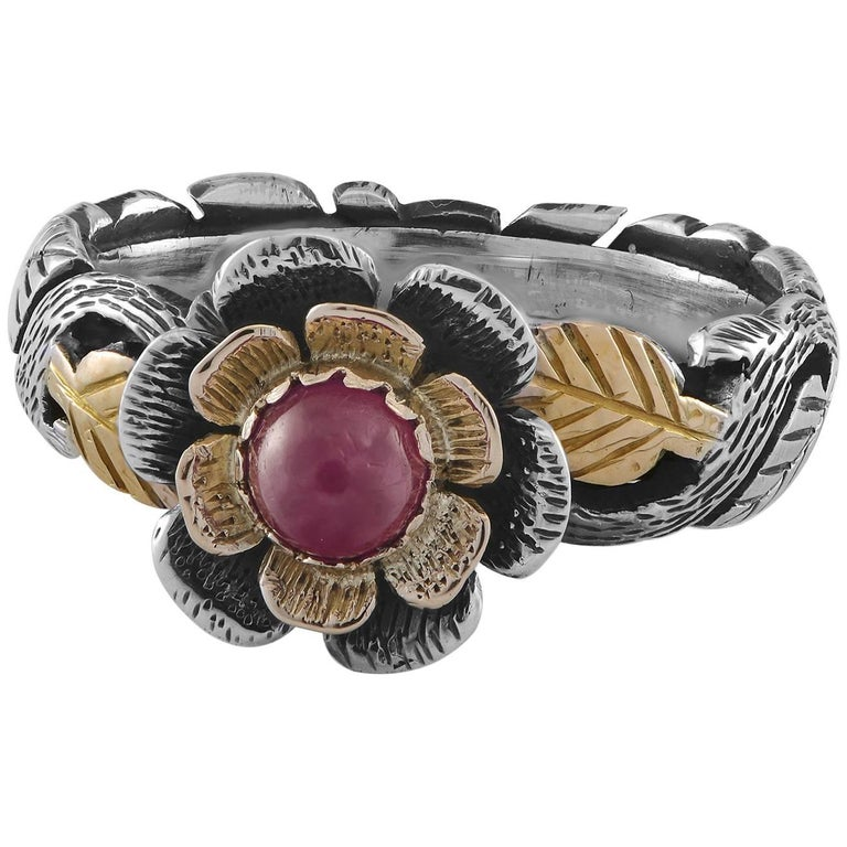Emma Chapman Ruby 18 Karat Yellow Gold Silver Ring For Sale