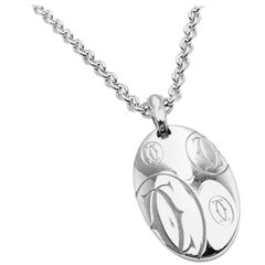 Cartier Happy Birthday Double C White Gold Charm Pendant Necklace