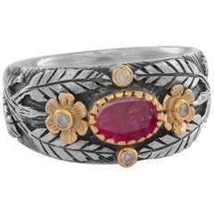 Emma Chapman Ruby Diamond 18 Karat Yellow Gold Silver Ring
