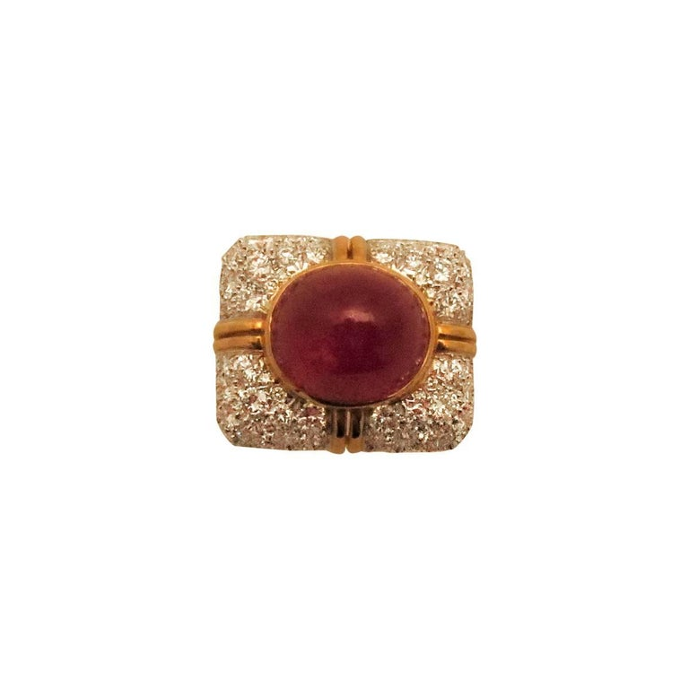 18 Karat Yellow Gold and Platinum Cabochon Ruby and Diamond Ring