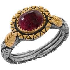 Emma Chapman Pink Tourmaline Yellow Gold Silver Ring