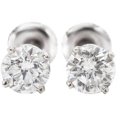 1.50 Carat Total Weight Diamond Stud Earrings 14 Karat White Gold