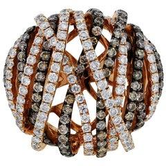 Champagne Diamond Multi Row Ring