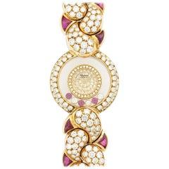 Chopard Yellow Gold Happy Diamond Ruby Bracelet Wristwatch