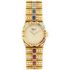 Chopard Yellow Gold Diamond Multicolor Rainbow Sapphire St. Moritz Wristwatch