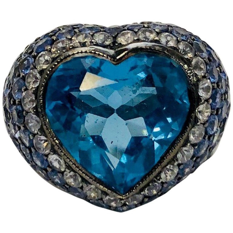 Ombre Blue Topaz and Sapphire Diamond Heart Shaped White Gold Ring