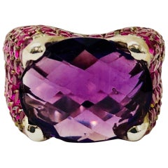Amethyst and Pink Sapphire White Gold Ring
